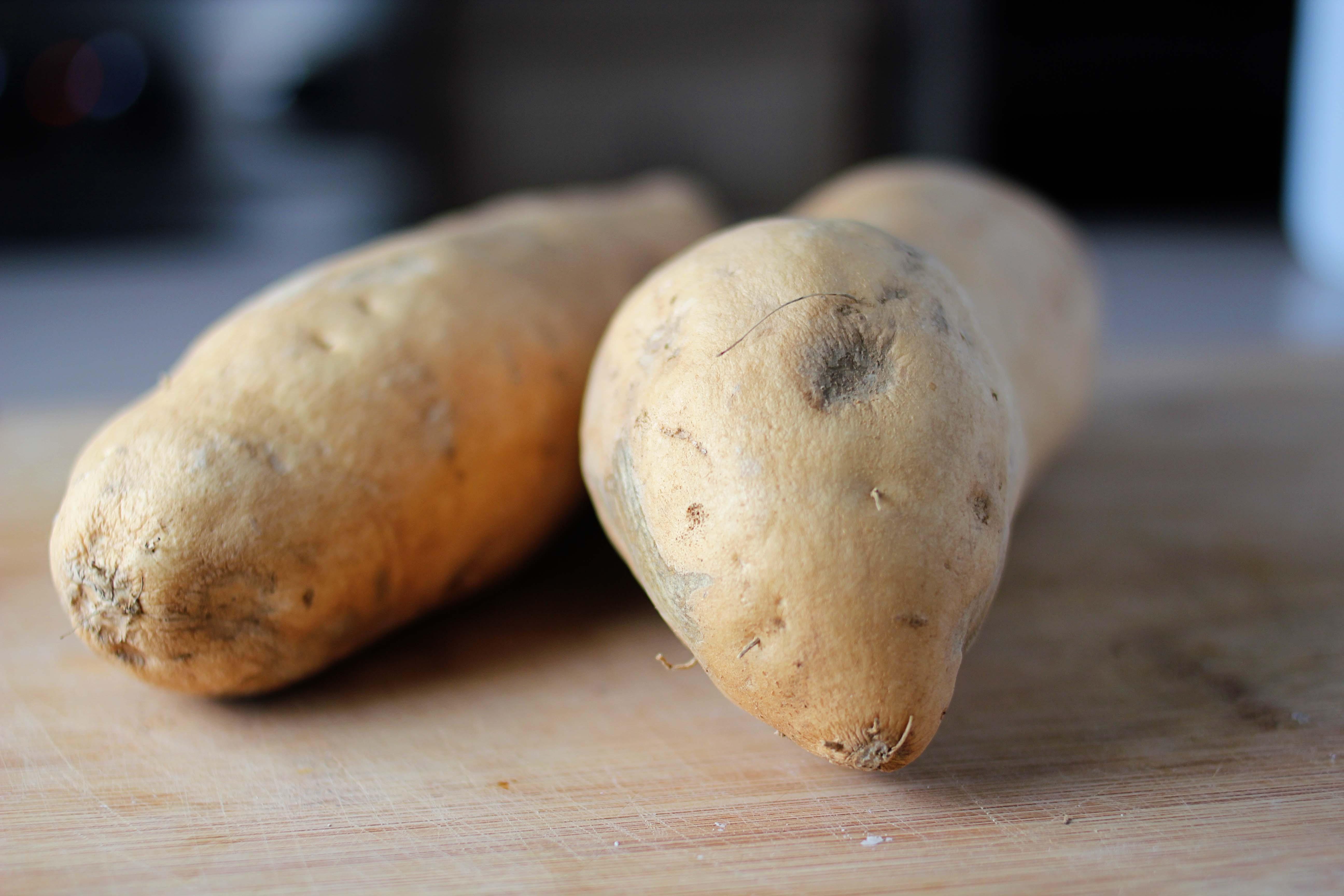 White Sweet Potato  not green but perfect maple mustard roasted white sweet