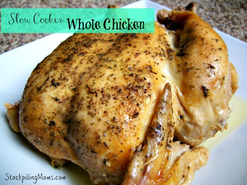 Whole Chicken In Slow Cooker  cold weather slow cooker recipes Our Thrifty Ideas
