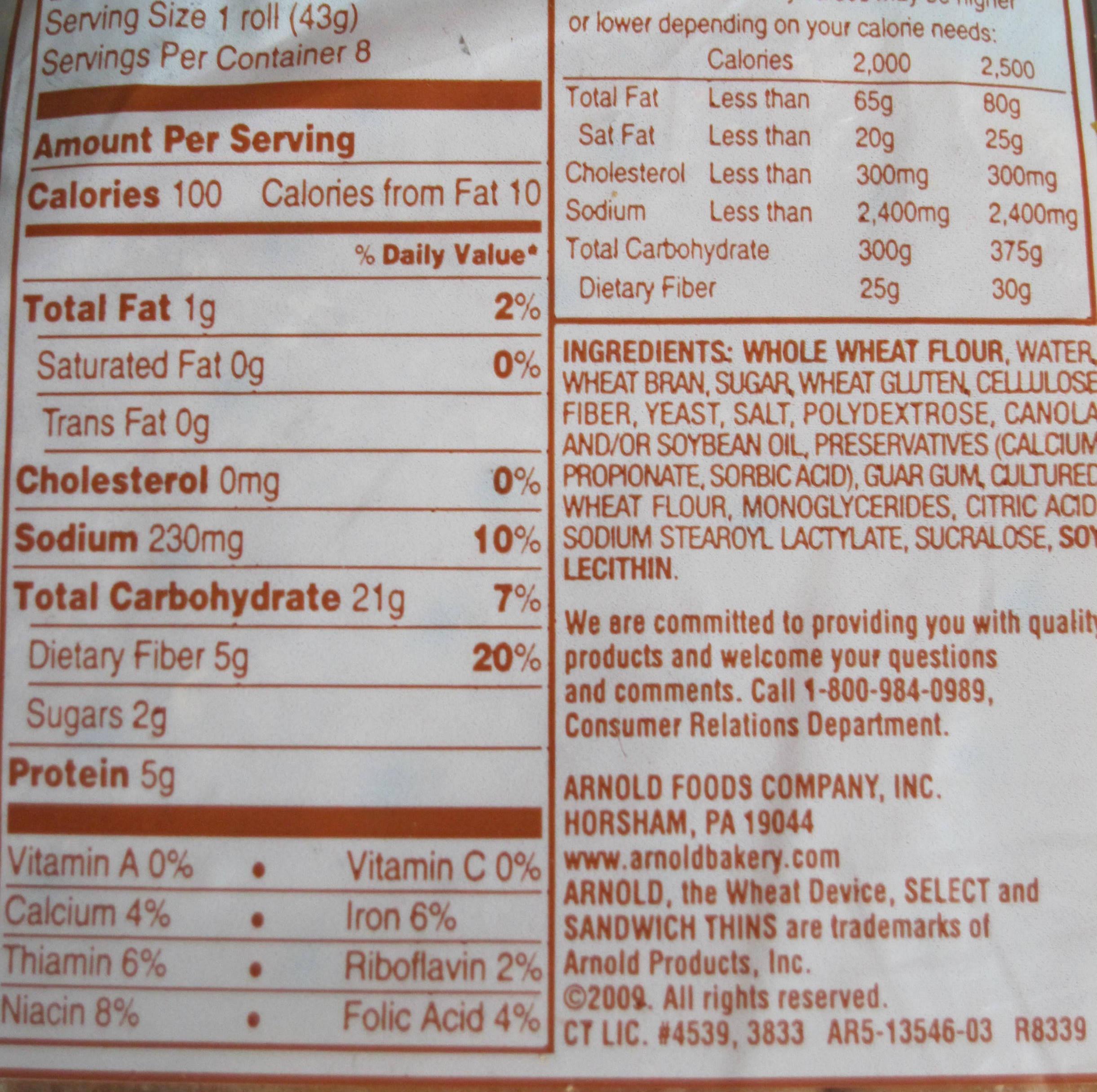 Whole Grain Bread Nutrition  Arnold 100 Whole Wheat Bread Nutrition Facts