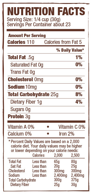 Whole Grain Bread Nutrition Facts  No 3 Multi Purpose Gluten Free Pastry Flour
