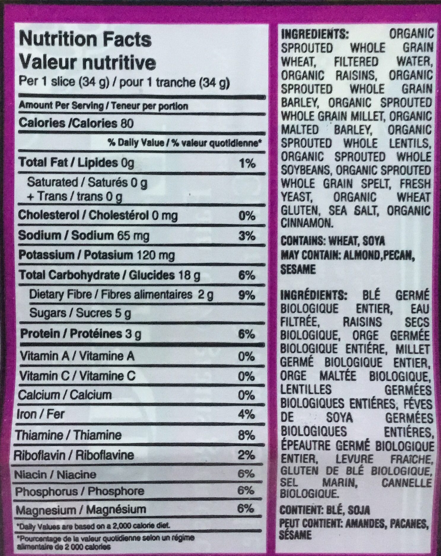 Whole Grain Bread Nutrition Facts  Ezekiel Bread Nutrition Facts Cinnamon Raisin – Besto Blog