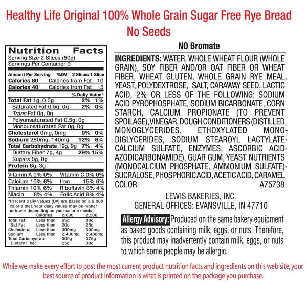 Whole Grain Bread Nutrition  Healthy Life Bread Whole Grain Rye Bread