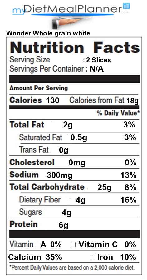 Whole Grain Bread Nutrition  Calories in Wonder Whole grain white Nutrition Facts for