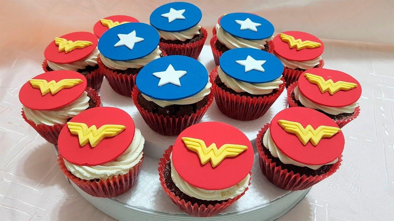 Wonder Woman Cupcakes  CUPCAKES MUJER MARAVILLA Paso a Paso ⭐