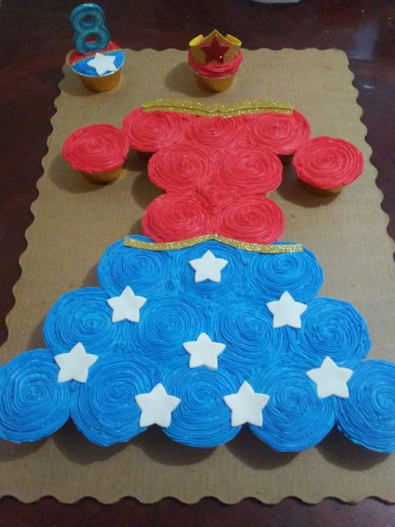 Wonder Woman Cupcakes  19 Wonder Woman Party Ideas Pretty My Party Party Ideas