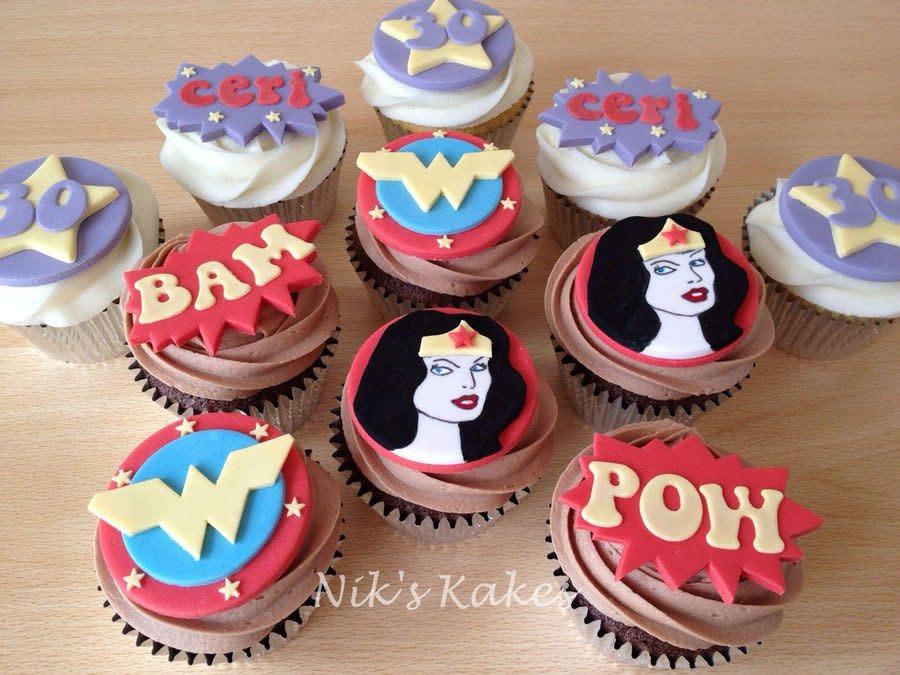 Wonder Woman Cupcakes  Wonder Woman Birthday Cupcakes Cake by Nikskakes