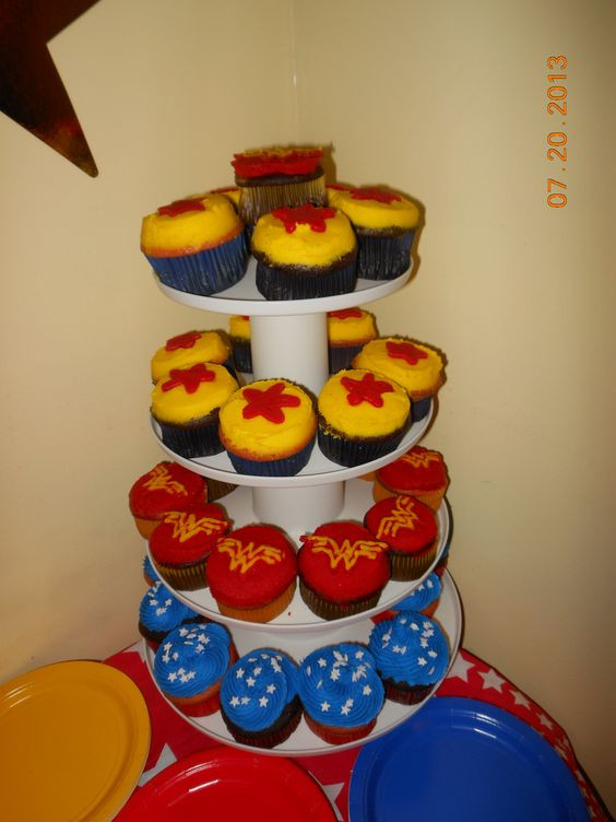 Wonder Woman Cupcakes  Wonder Woman Cupcakes Jenn E Bakes Pinterest