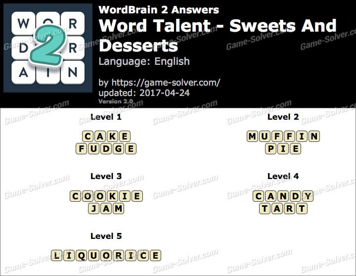 Wordbrain 2 Sweets And Desserts  Wordbrain 2 Word Talent Sweets and Desserts Answers Game