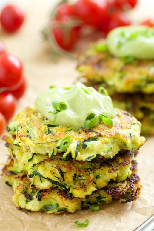 Zucchini Fritters Paleo  Zucchini Fritters with Avocado Crema