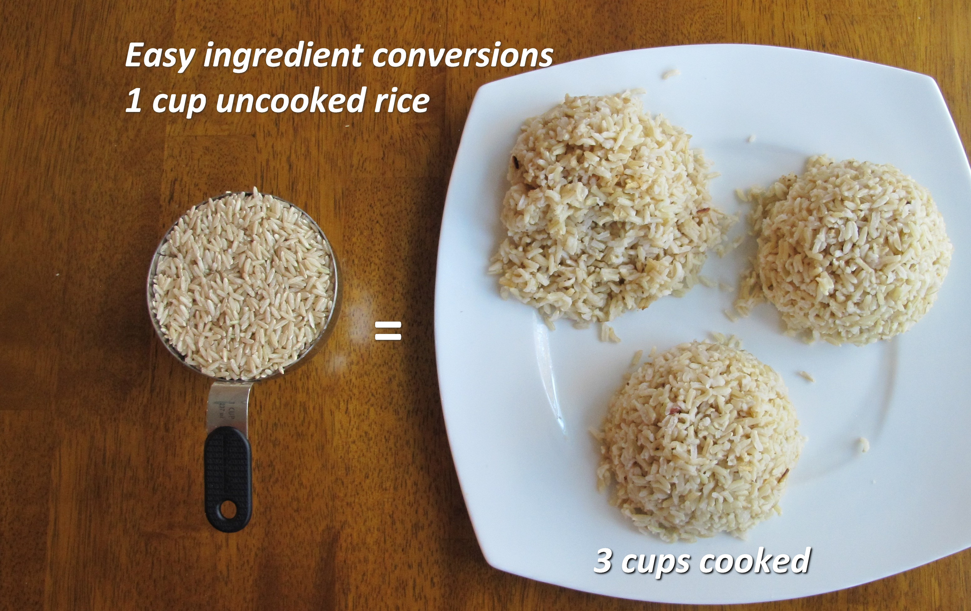 1 Cup Of Brown Rice  mon Cooking Conversions Math in the Kitchen
