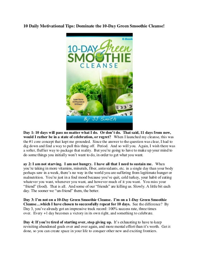 10 Day Green Smoothie Cleanse Recipes  10 day green smoothie cleanse by jj smith