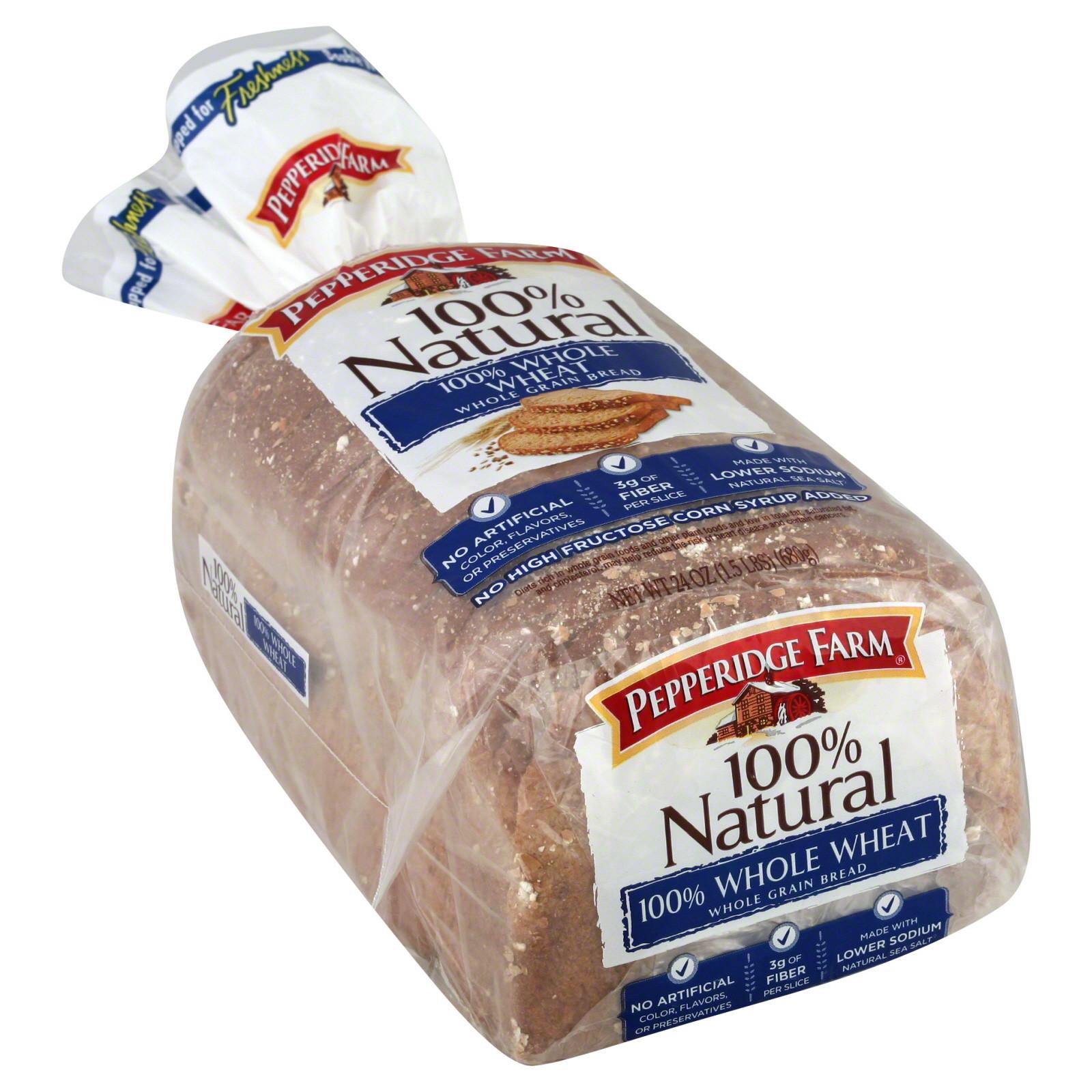 100% Whole Grain Bread  Pepperidge Farm Natural Bread Whole Grain