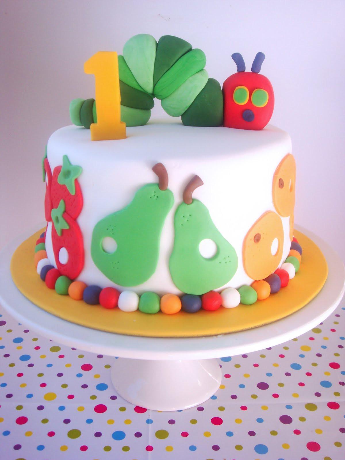 1St Birthday Cake  butter hearts sugar Very Hungry Caterpillar Cake