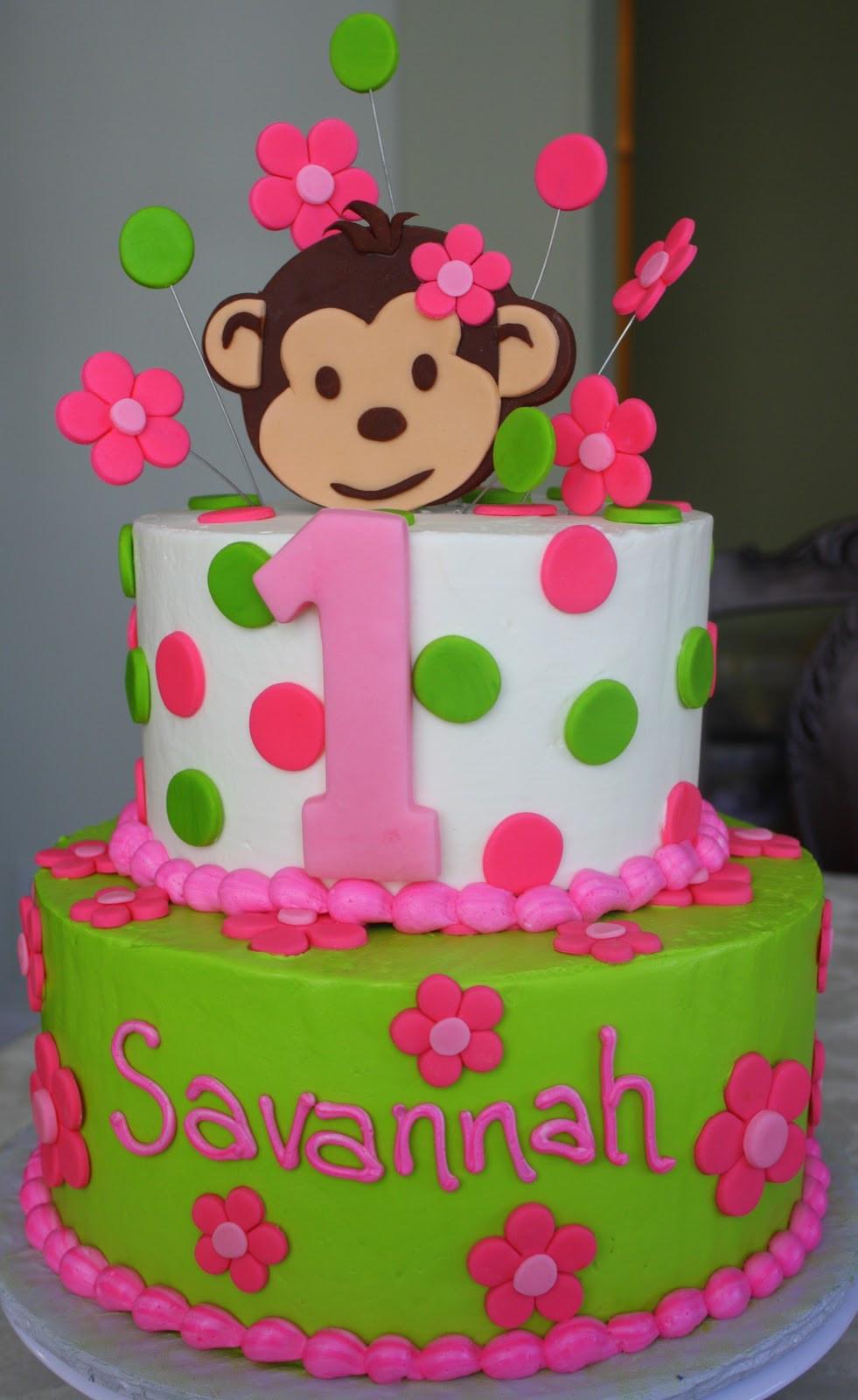 1St Birthday Cake  Claudine Pink Mod Monkey 1st Birthday
