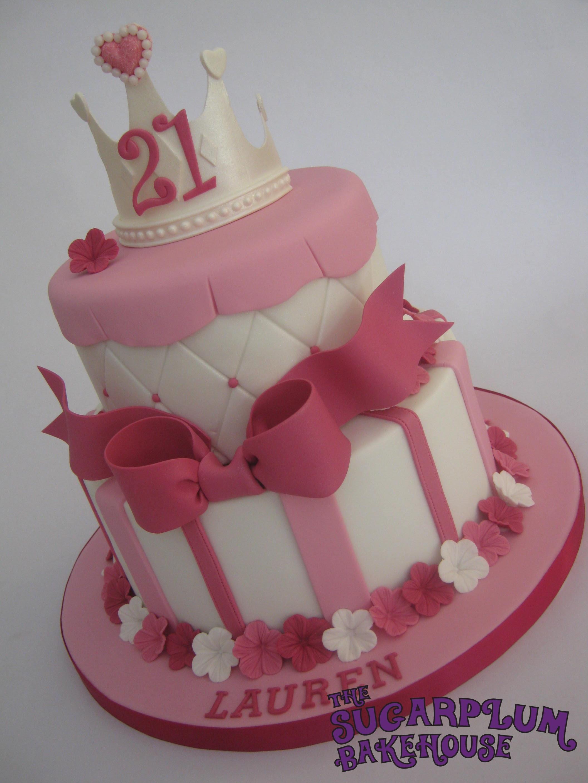 21St Birthday Cake  2 Tier Girly Princess 21St Birthday Cake CakeCentral