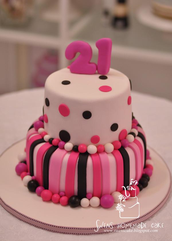 21St Birthday Cake  Creative Custom made 21st Birthday Cake Pink Design