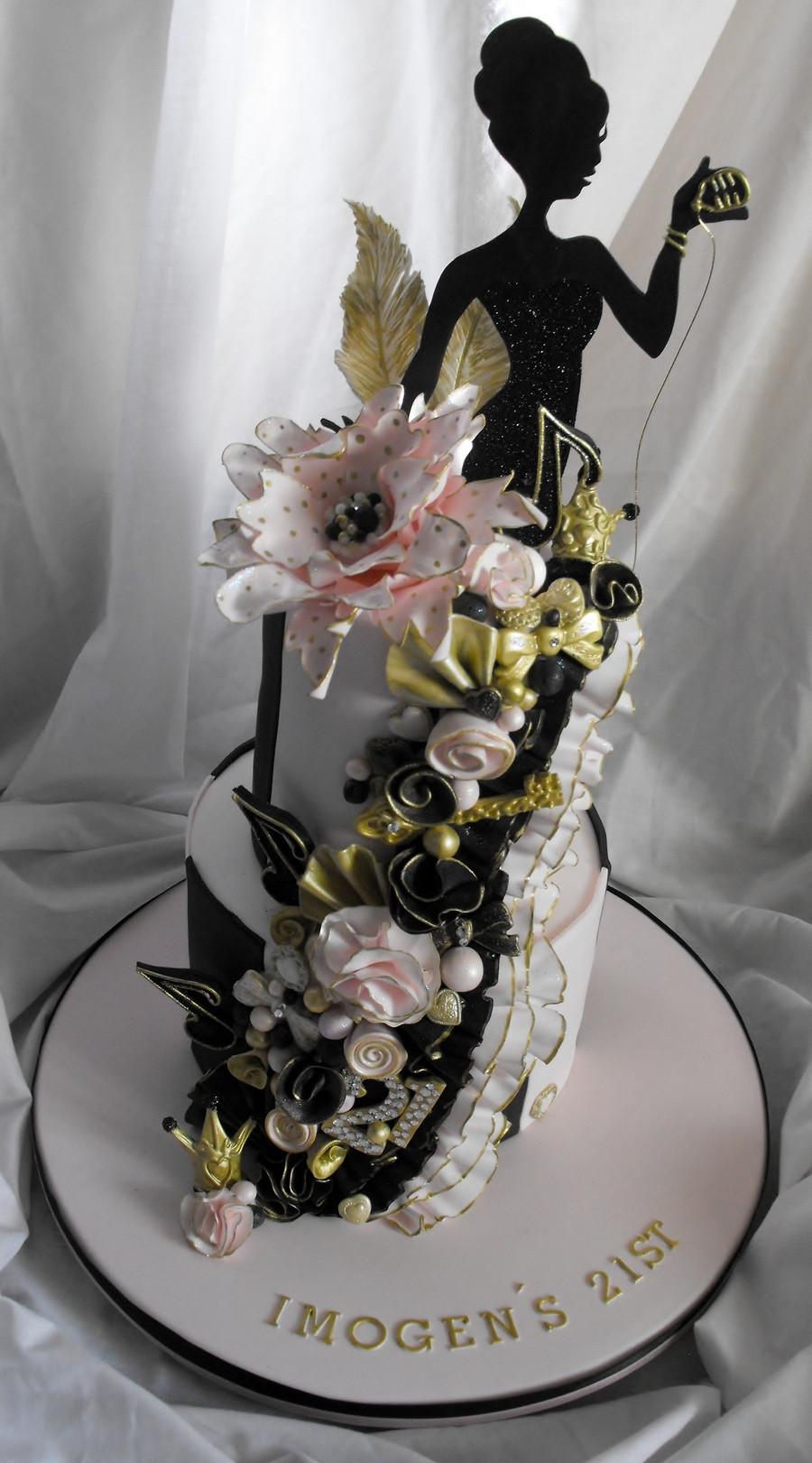 21St Birthday Cake  2 Tier Pink Black And Gold 21St Birthday Cake