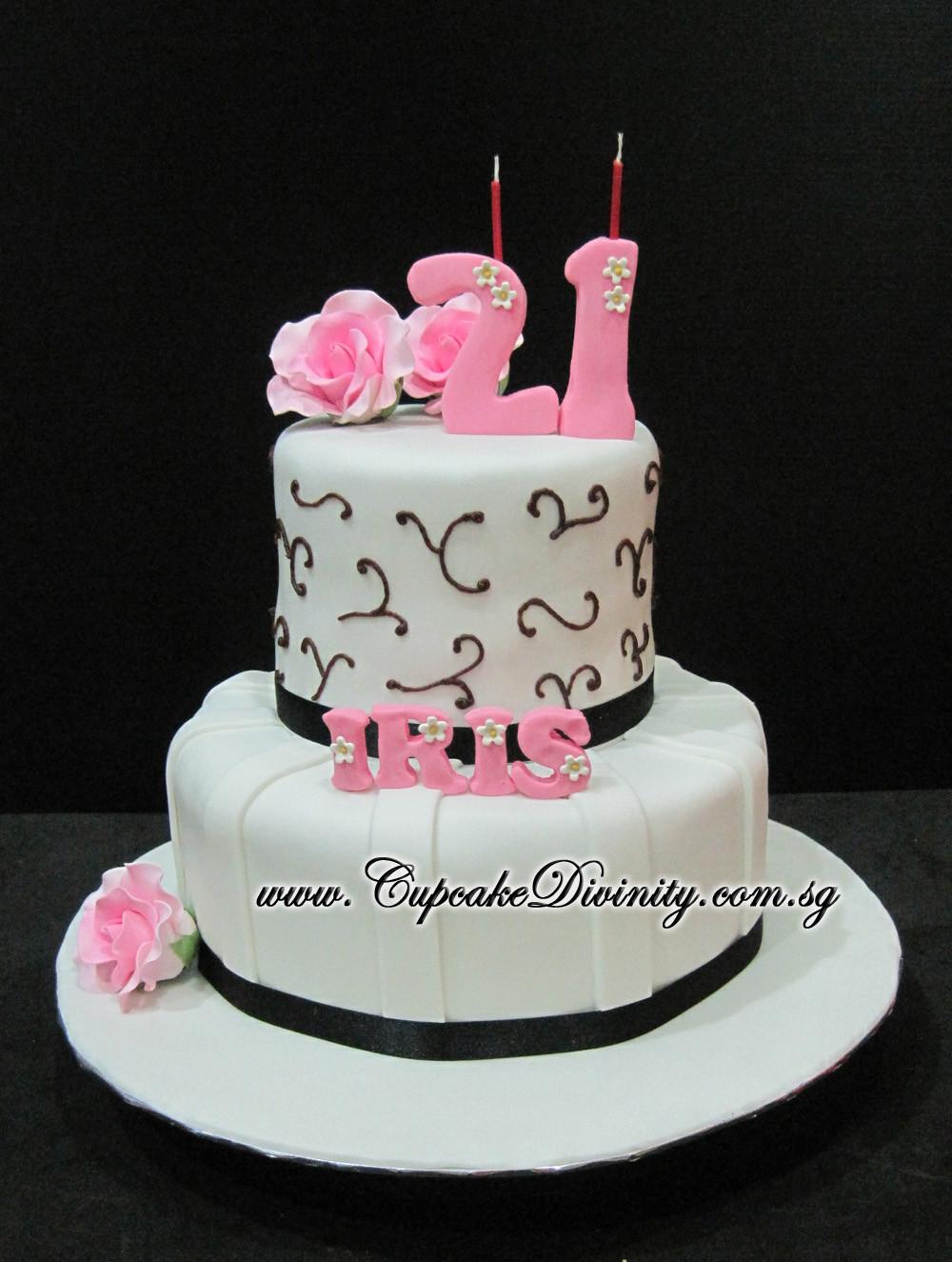 21St Birthday Cake  Cupcake Divinity Mini 2 tier Iris 21st Birthday Fondant Cake