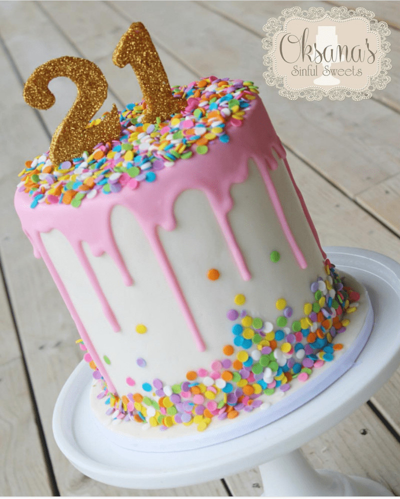 21St Birthday Cake  How to Make a Drip Cake 50 Amazing Drizzle Cakes to