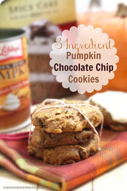 3 Ingredient Chocolate Chip Cookies  3 Ingre nt Pumpkin Chocolate Chip Cookies