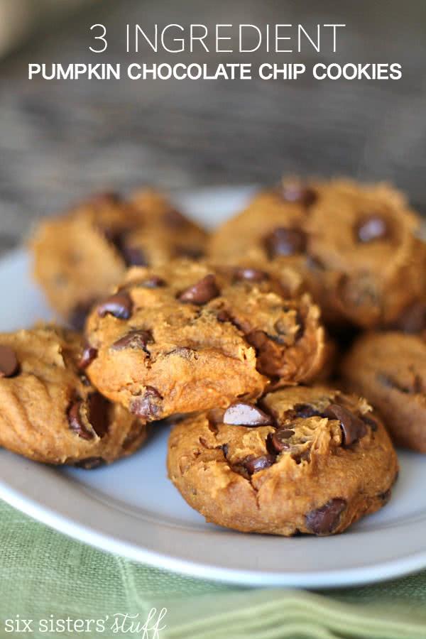 3 Ingredient Chocolate Chip Cookies  3 Ingre nt Pumpkin Chocolate Chip Cookies – Six Sisters