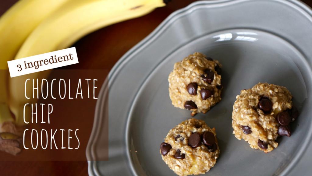 3 Ingredient Chocolate Chip Cookies  Healthy 3 Ingre nt Chocolate Chip Cookies
