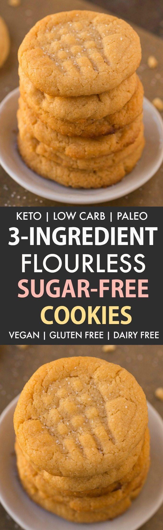 3 Ingredient Sugar Cookies  3 Ingre nt Sugar Free Flourless Cookies Paleo Vegan