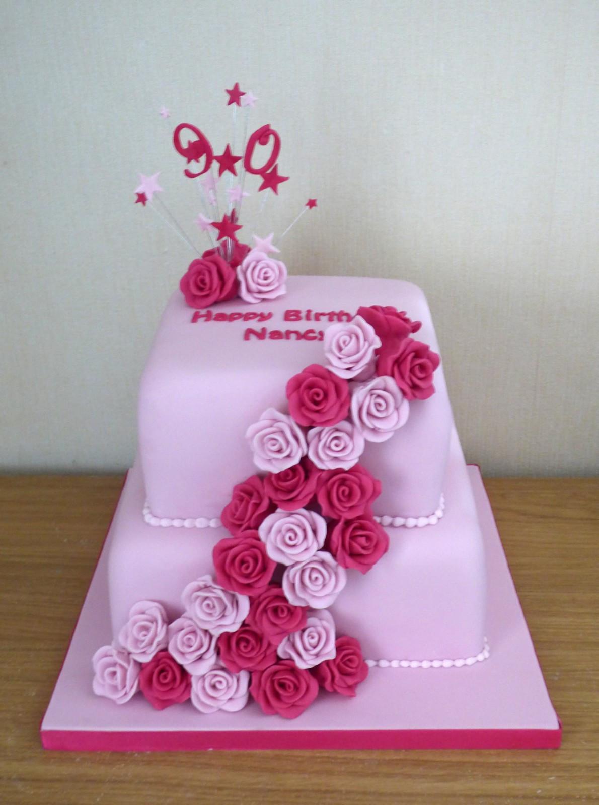 90Th Birthday Cake  2 Tier 90th Birthday Rose Cake Susie s Cakes