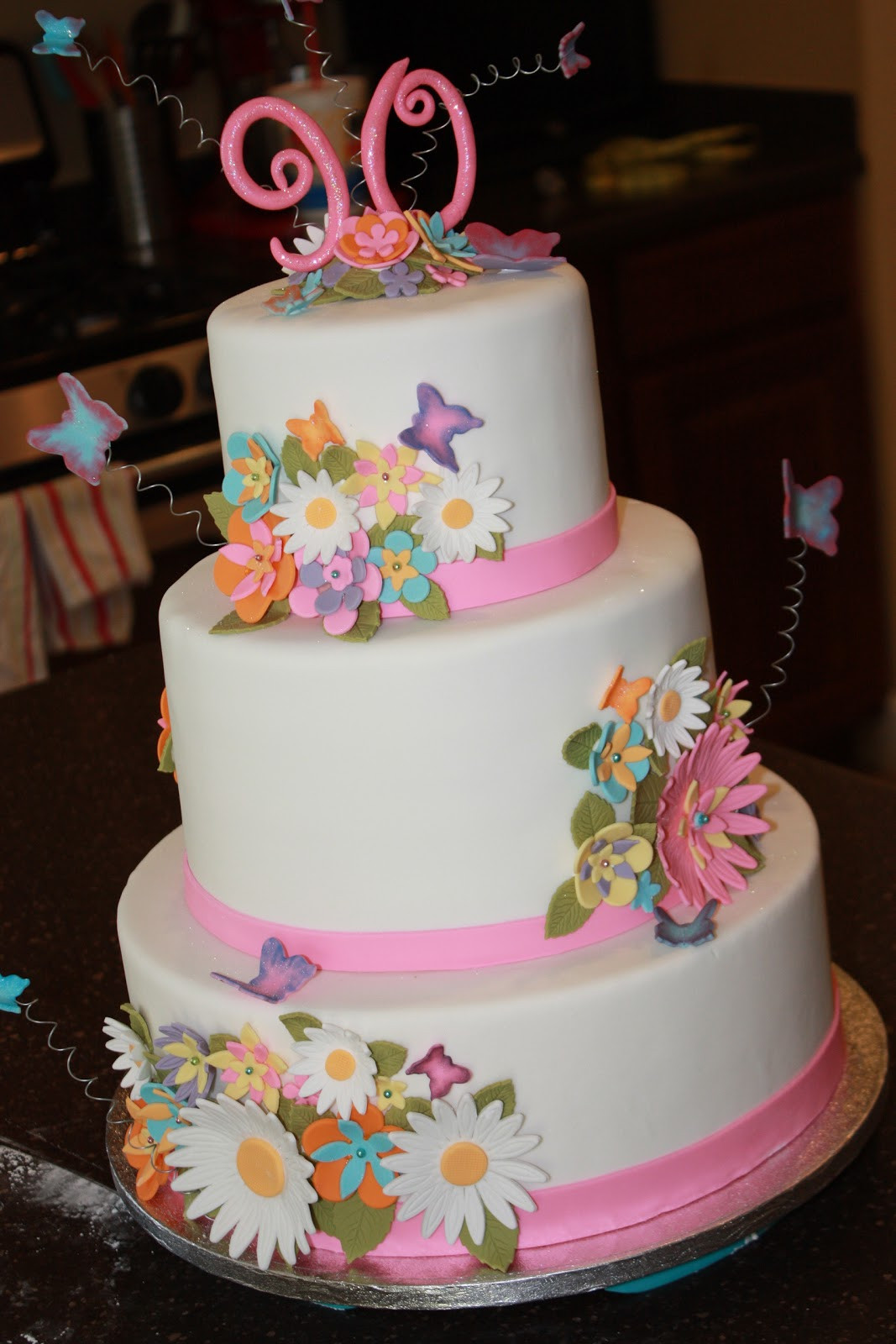90Th Birthday Cake  The Good Apple Flowers and Butterflies 90th Birthday Cake