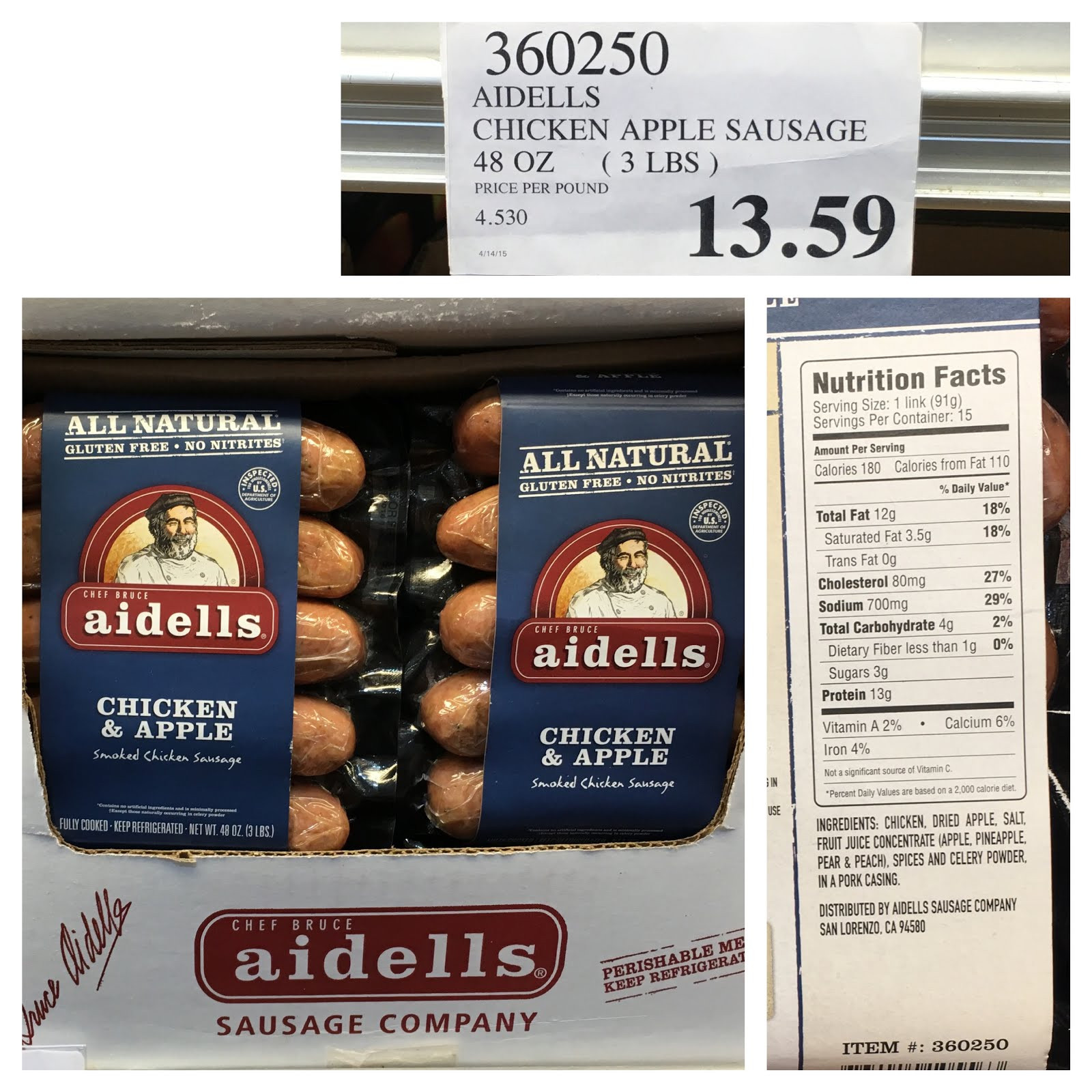 Aidells Chicken Apple Sausage  the Costco Connoisseur Survive your Whole30 with Costco