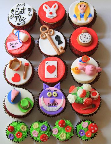Alice In Wonderland Cupcakes  Red velvet Alice in Wonderland cupcakes