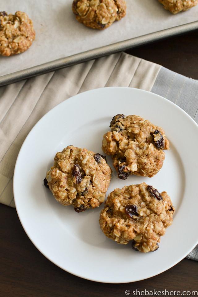 Almond Flour Oatmeal Cookies  Almond Meal Oatmeal Raisin Cookies She Bakes Here