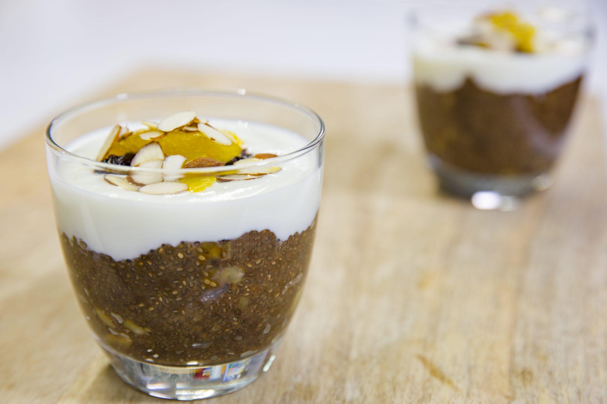 Almond Milk Dessert  Coffee banana and almond milk chia pot dessert