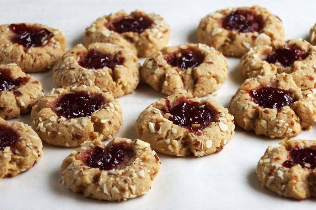Almond Thumbprint Cookies  Cherry Almond Thumbprint Cookies