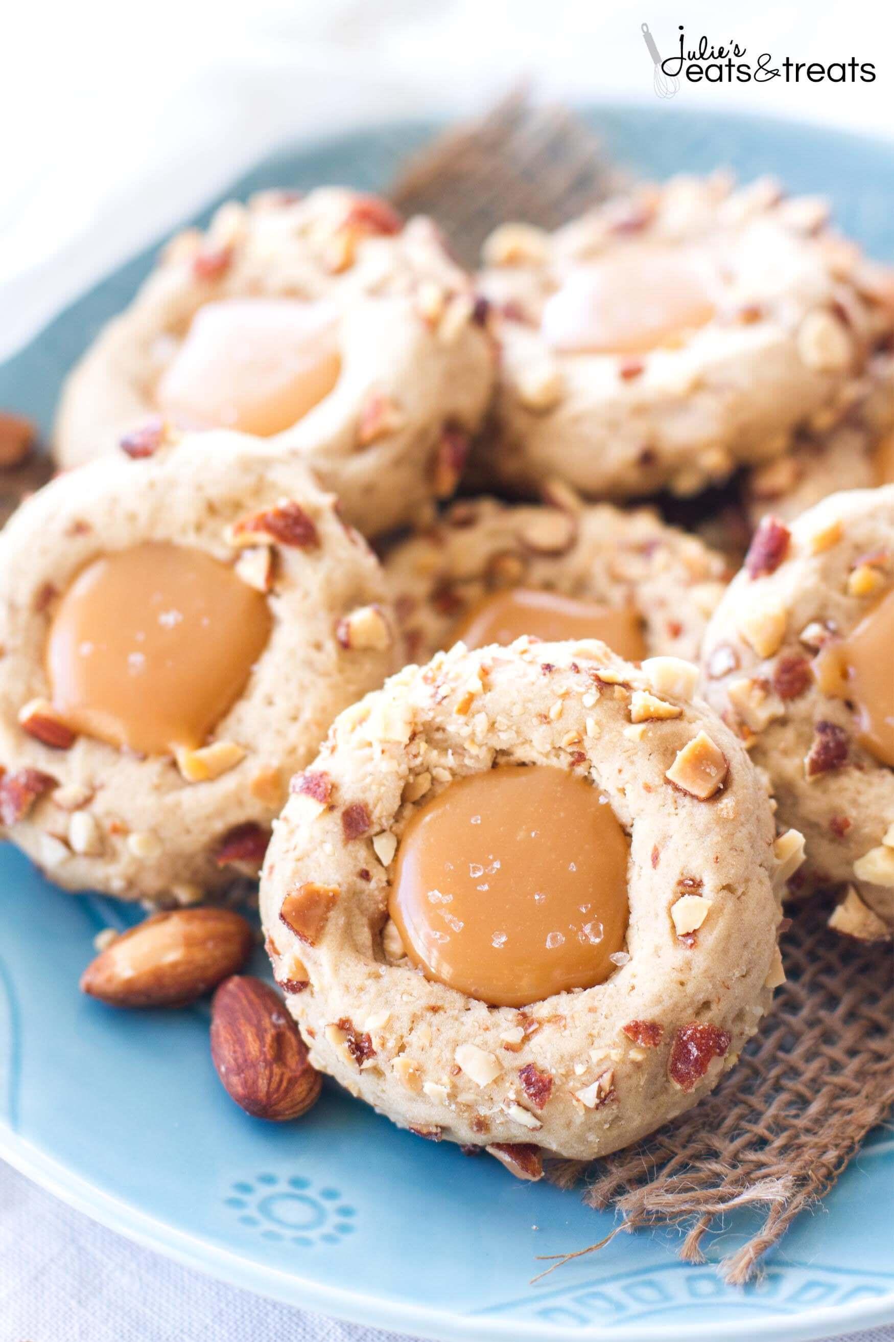Almond Thumbprint Cookies  Salted Caramel Almond Thumbprint Cookies Julie s Eats