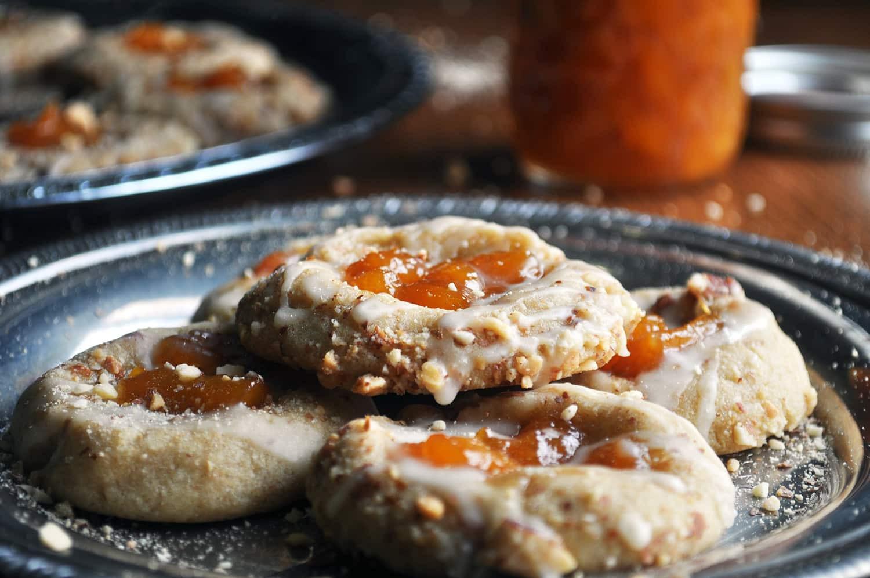 Almond Thumbprint Cookies  Peach Almond Shortbread Thumbprint Cookies Batter and Dough