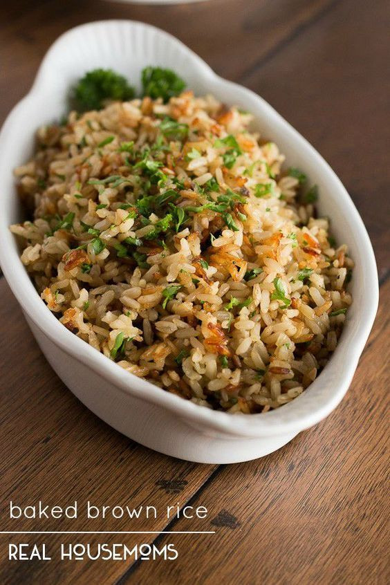 Alton Brown Baked Brown Rice  Brown rice Fresh herbs and Rice on Pinterest