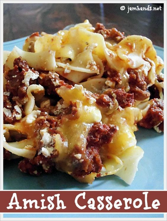 Amish Beef And Noodles  Amish Ground Beef and Noodle Casserole Recipe