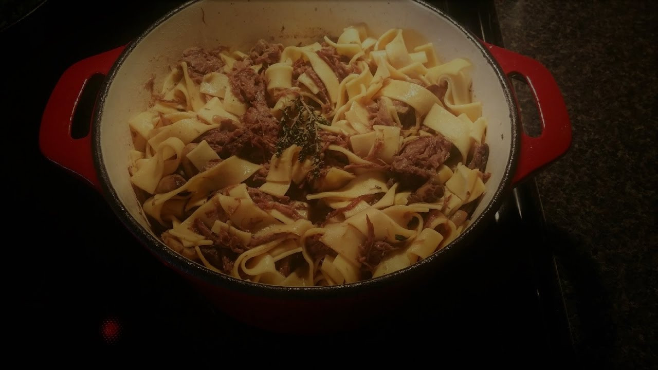 Amish Beef And Noodles  AMISH STYLE BEEF AND NOODLES ONE POT DUTCH OVEN