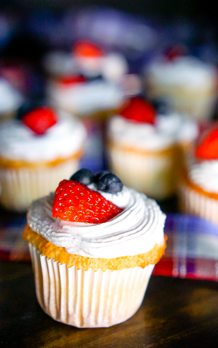 Angel Food Cake Cupcakes  Light Angel Food Cupcakes with Strawberry Whipped Topping
