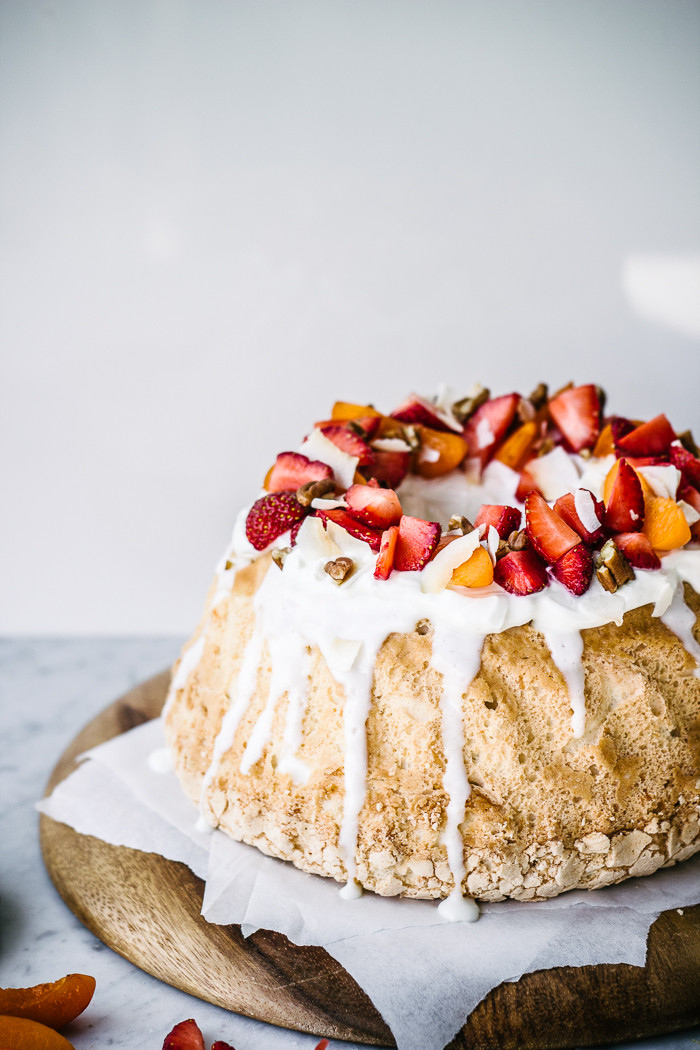 Angel Food Cake  Coconut Angel Food Cake with Greek Yogurt Frosting Izy