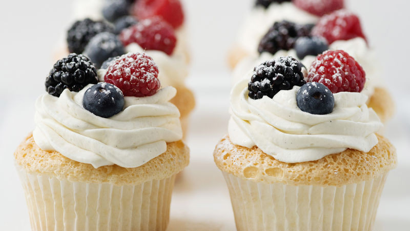 Angel Food Cupcakes  Angel Food Cupcakes with Whipped Cream and Berries Recipe