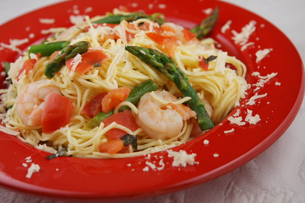 Angel Hair Pasta With Shrimp  Angel Hair Pasta with Shrimp Asparagus and Basil