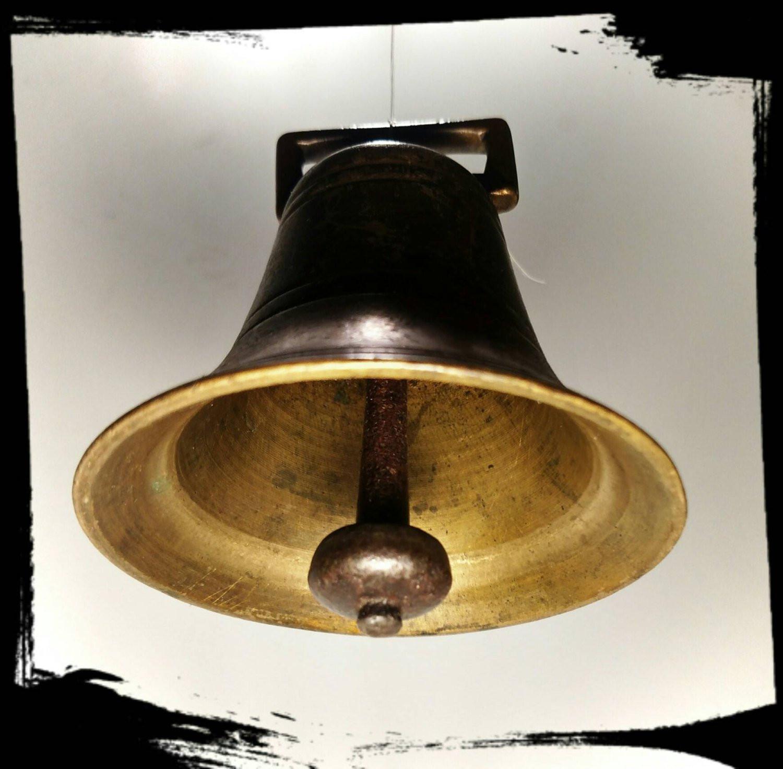 Antique Dinner Bell  Antique Heavy Brass Bell with Original Clapper School