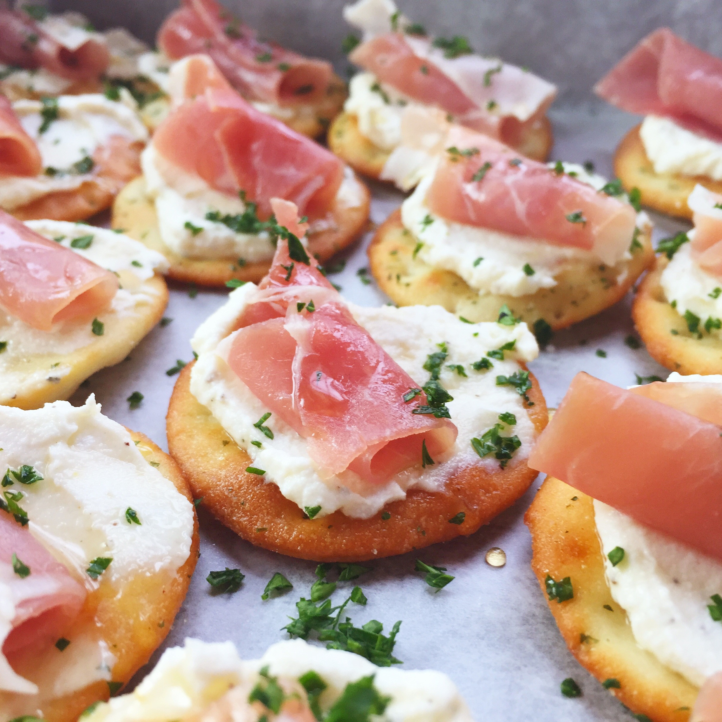 Appetizers For Christmas Party  Ricotta and Prosciutto Cracker Appetizer Seasonly Creations