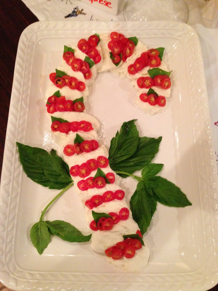 Appetizers For Christmas Party  Mozzarella tomato & basil Candy Cane Christmas party