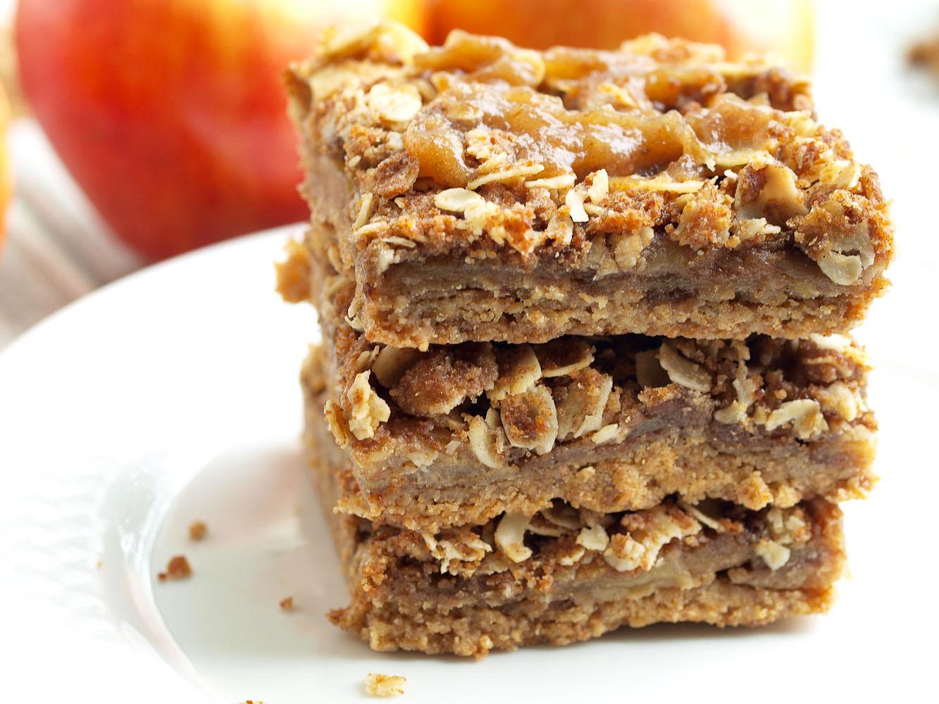 Apple Pie Dessert  Vegan Salted Caramel Apple Pie Bars Happy Healthy Mama