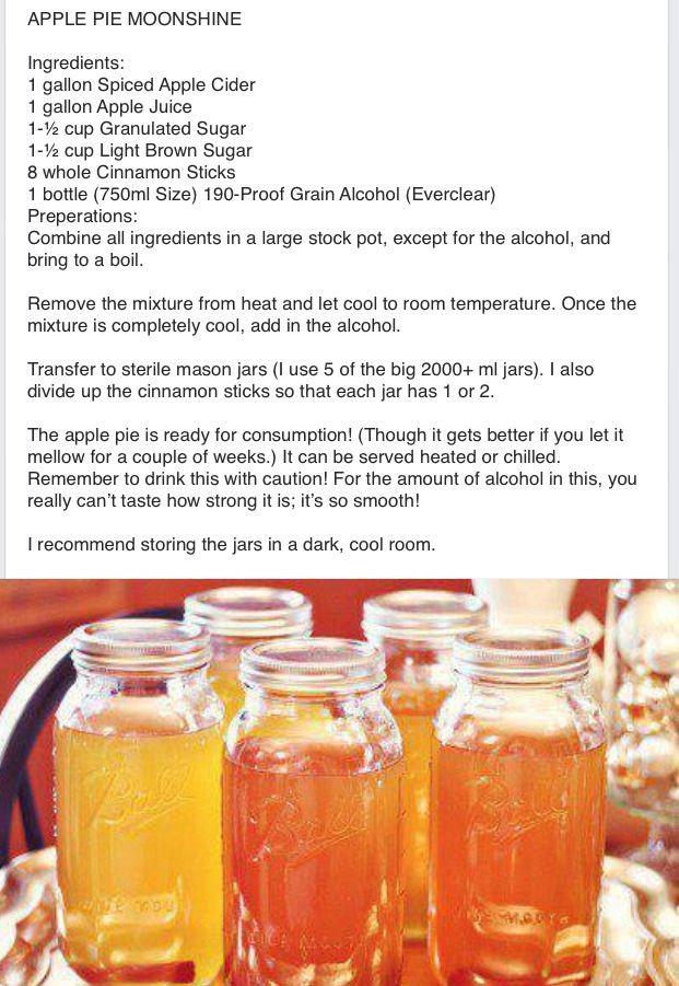 Apple Pie Moonshine Recipe  apple pie moonshine everclear