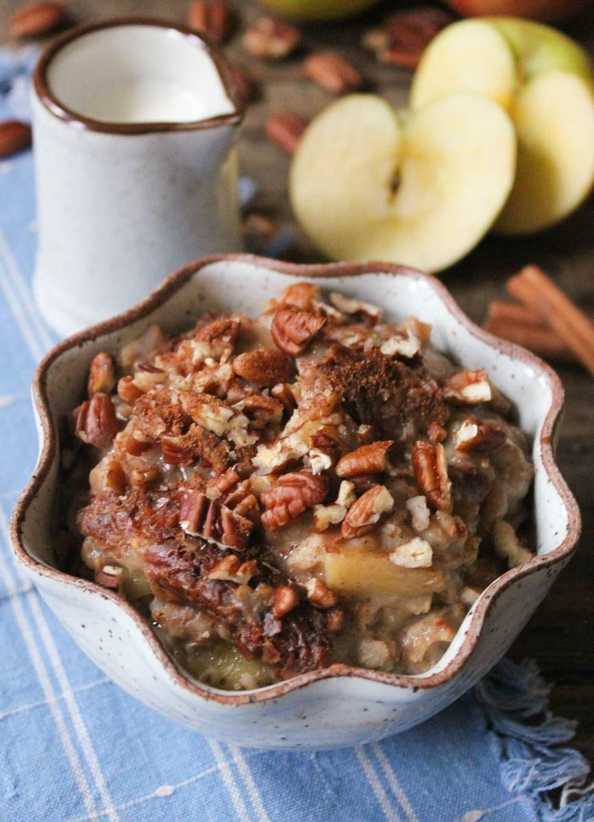 Apple Pie Oatmeal  Slow Cooker Apple Pie Oatmeal Domesticate ME