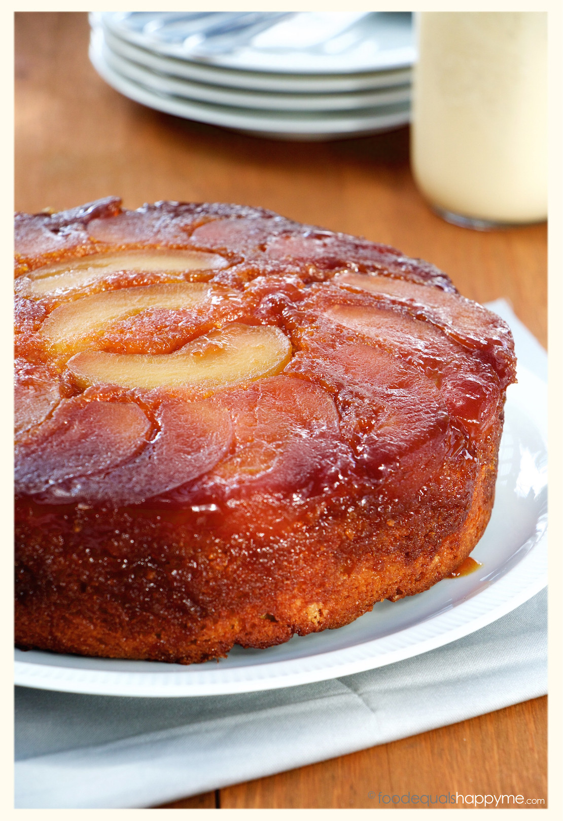 Apple Upside Down Cake  Caramel Apple Upside Down Cake with Creme Anglaise